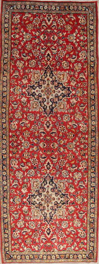 One of a Kind Traditional Kashmar Persian Hand-Knotted 4x10 Wool Runner Rug