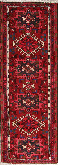 One of a Kind Tribal Gharajeh Persian Hand-Knotted 2x6 Wool Runner Rug