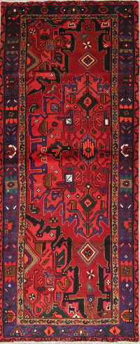 One of a Kind Geometric Hamedan Persian Hand-Knotted 3x7 Wool Runner Rug