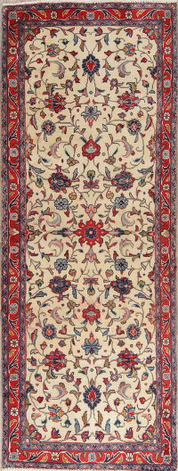 One of a Kind Floral Ivory Sarouk Persian Hand-Knoted 2x7 Wool Runner Rug