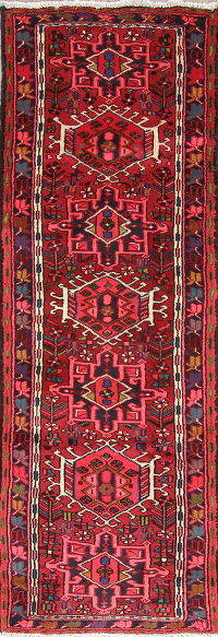 One of a Kind Tribal Geometric Gharajeh Persian Hand-Knotted 2x7 Wool Runner Rug