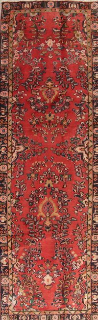 One of a Kind Floral Ardebil Persian Hand-Knotted 3x9 Wool Runner Rug