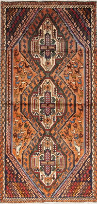 One of a Kind Tribal Geometric Kashkoli Persian Hand-Knotted 3x6 Wool Runner Rug