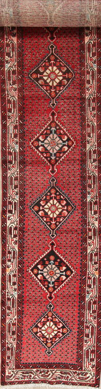 One of a Kind Geometric Malayer Persian Hand-Knotted 3x16 Wool Runner Rug