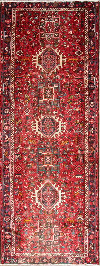 One of a Kind Red Tribal Gharajeh Persian Hand-Knotted 4x10 Wool Runner Rug