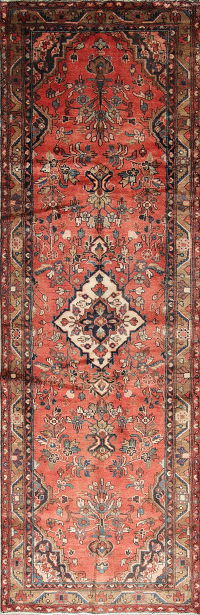 One of a Kind Floral Hamedan Persian Hand-Knotted 3x11 Wool Runner Rug