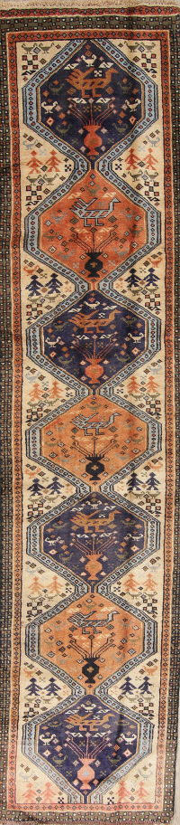 One of a Kind Tribal Geometric Ardebil Persian Hand-Knotted 2x10 Wool Runner Rug