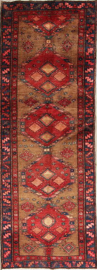 One of a Kind Brown Geometric Heriz Persian Hand-Knotted 3x10 Wool Runner Rug