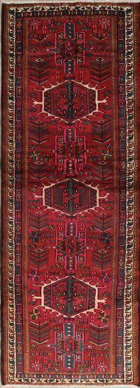 Tribal Red Geometric Gharajeh Persian Hand-Knotted 3x10 Wool Runner Rug