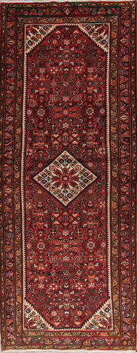 Tribal Red Geometric Hamedan Persian Hand-Knotted 4x10 Wool Runner Rug