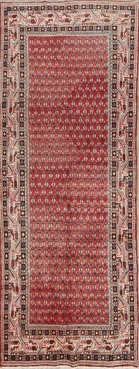 Red Geometric Botemir Persian Hand-Knotted 4x10 Wool Runner Rug