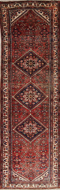 Red Geometric Malayer Hamedan Persian Hand-Knotted 3x11 Wool Runner Rug