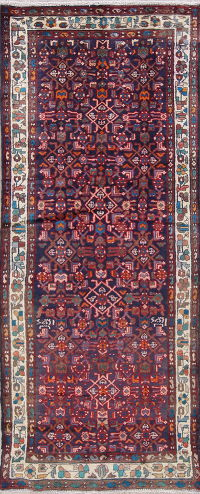 Tribal Geometric Hamedan Persian Hand-Knotted 3x8 Wool Runner Rug