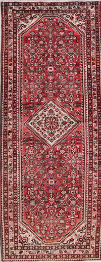 Red Geometric Hamedan Persian Hand-Knotted 4x10 Wool Runner Rug