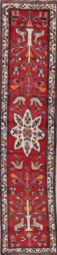 Antique Red Animal Pictorial Shiraz Persian Hand-Knotted 2x10 Wool Runner Rug