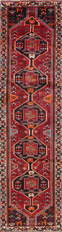 One of a Kind Tribal Geometric Lori Persian Hand-Knotted 3x10 Wool Runner Rug