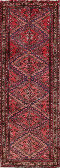 Red Geometric Hamedan Persian Hand-Knotted 3x9 Wool Runner Rug
