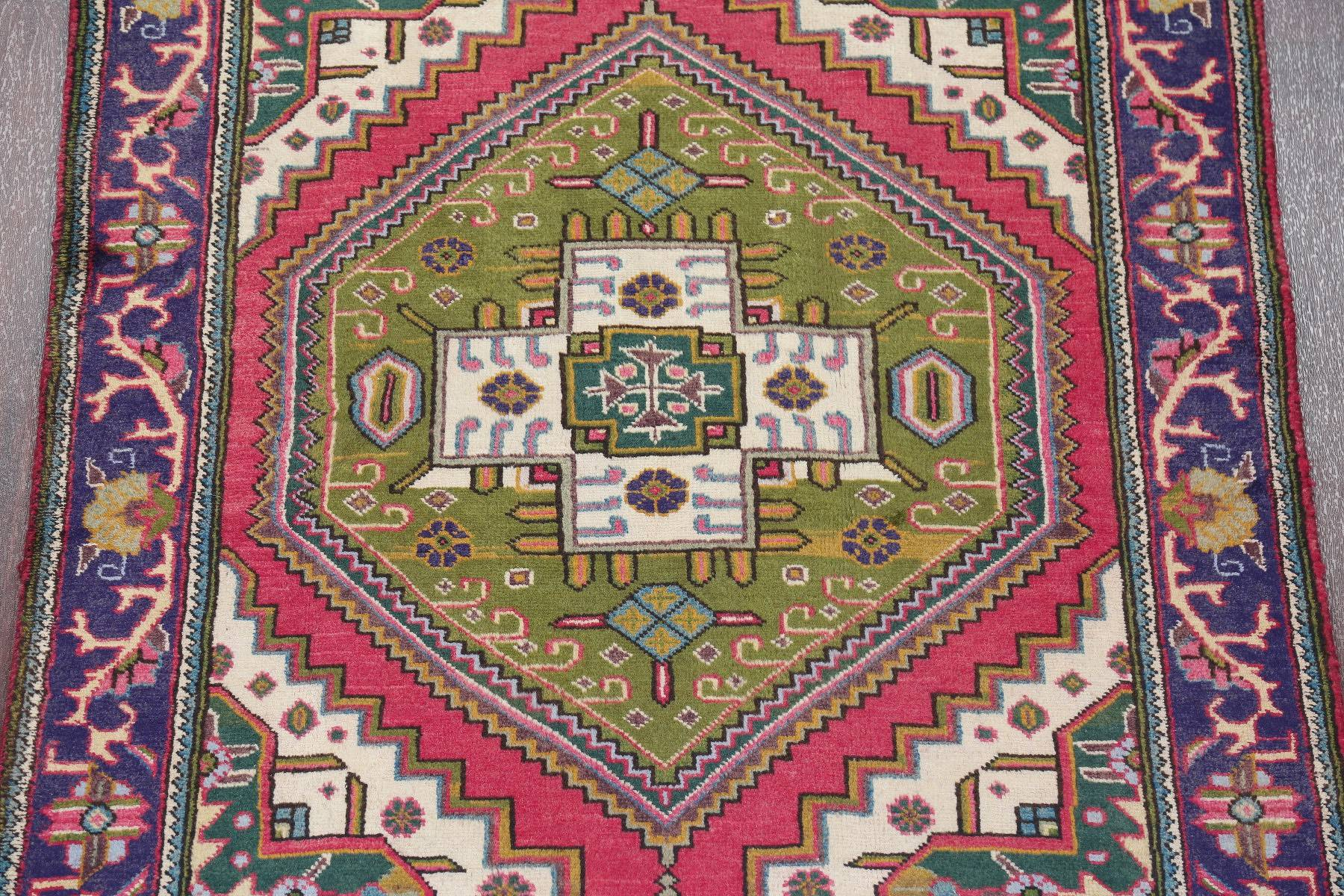 One of a Kind Green Tribal Tabriz Persian Hand-Knotted 4x13 Wool Runner Rug