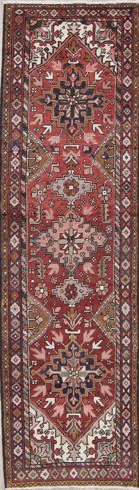 Antique Red Tribal Geometric Heriz Perian Hand-Knotted 3x11 Wool Runner Rug