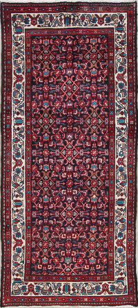 All-Over Geometric Malayer Persian Hand-Knotted 4x8 Wool Runner Rug