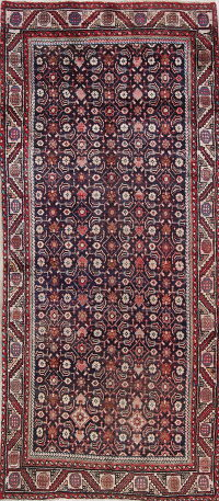 All-Over Geometric Sarouk Persian Hand-Knotted 4x8 Wool Runner Rug