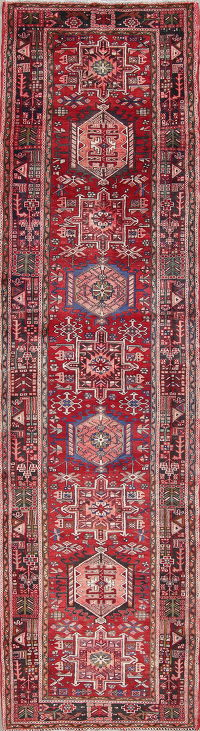 Tribal Geometric Gharajeh Persian Hand-Knotted 4x15 Red Runner Rug