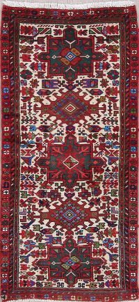Tribal Geometric Gharajeh Persian Hand-Knotted 2x5 Wool Runner Rug