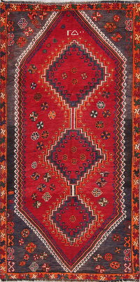 One of a Kind Red Tribal  Lori Persian Hand-Knotted 3x7 Wool Runner Rug
