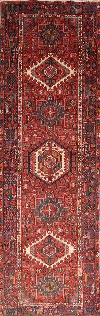 Tribal Geometric Gharajeh Persian Hand-Knotted 3x12 Wool Runner Rug