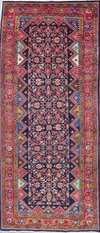Vegetable Dye Heriz Bakhshayesh Persian Hand-Knotted 4x10 Wool Runner Rug