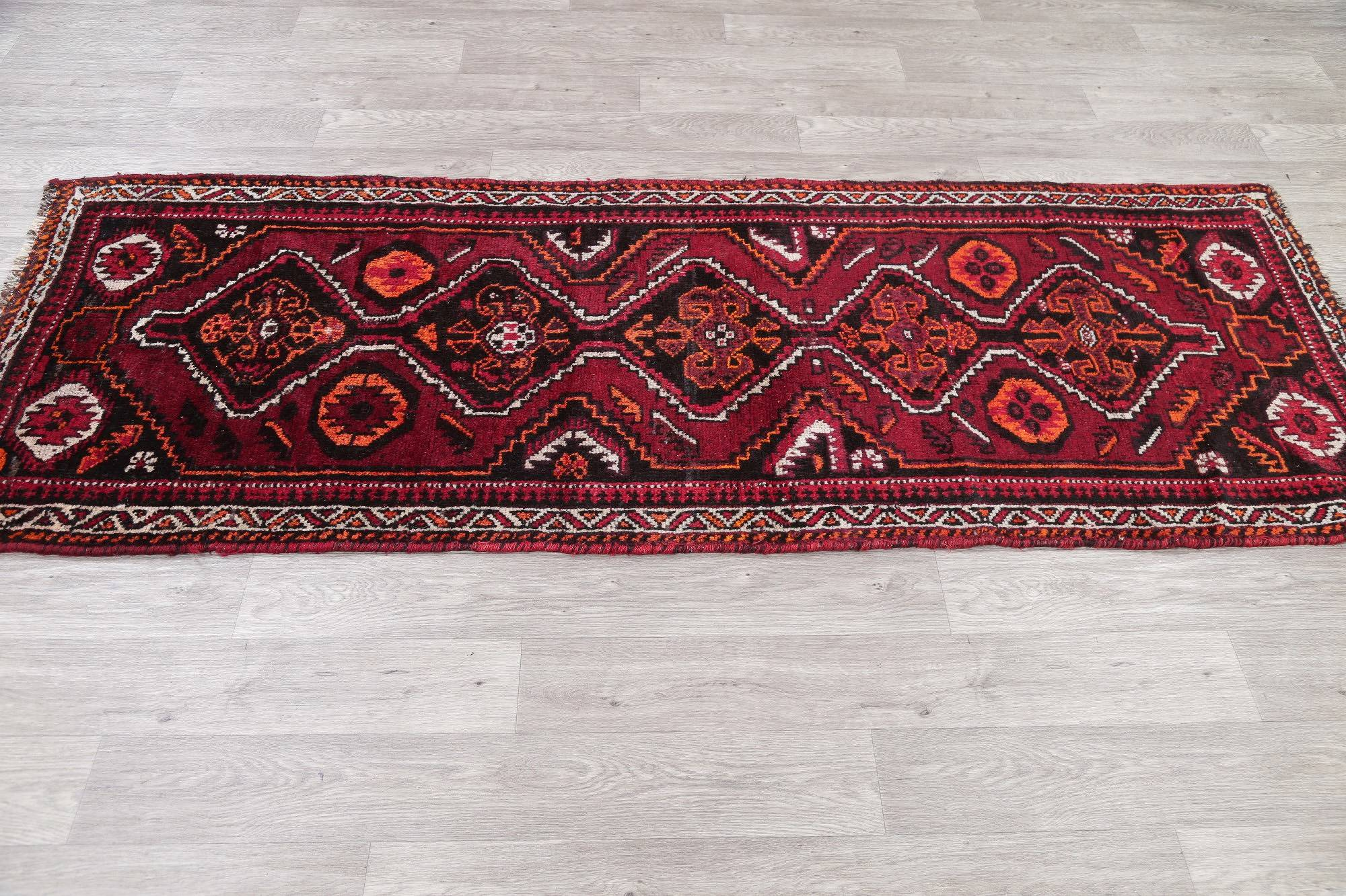 One of a Kind Geometric Qashqai Persian Hand-Knotted 3x8 Wool Runner Rug