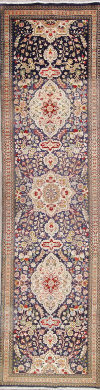 One of a Kind Tabriz Persian Hand-Knotted 3x13 Wool Runner Rug