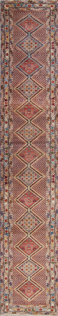 One of a Kind Geometric Yalameh Persian Hand-Knotted 2x13 Wool Runner Rug