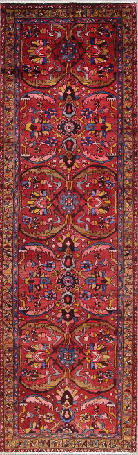 One of a Kind All-Over Floral Heriz Persian Hand-Knotted 3x11 Wool Runner Rug