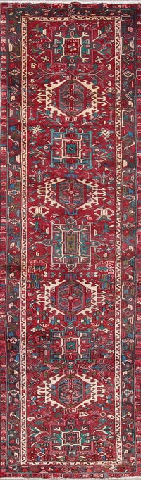 One of a Kind Red Tribal Gharajeh Persian Hand-Knotted 4x13 Wool Runner Rug