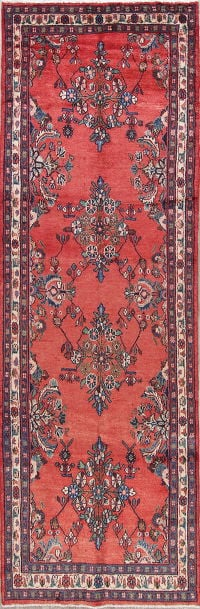 One of a Kind Floral Hamedan Persian Hand-Knotted 4x11 Wool Runner Rug