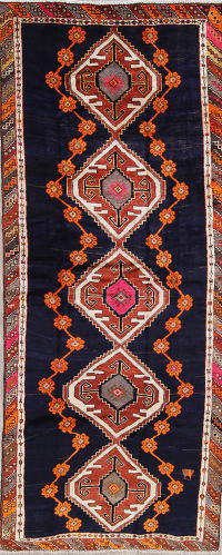 One of a Kind Geometric Lori Persian Hand-Knotted 5x12 Wool Runner Rug