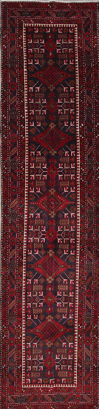 One of a Kind Geometric Heriz Persian Hand-Knotted 4x15 Wool Runner Rug