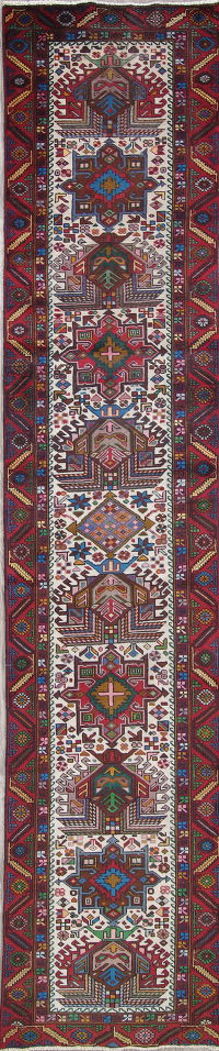 One of a Kind Geometric Heriz Persian Hand-Knotted 3x13 Wool Runner Rug