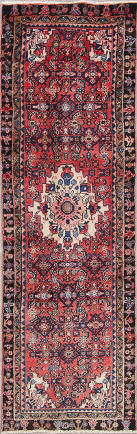 One of a Kind Geometric Hamedan Persian Hand-Knotted 3x9 Wool Runner Rug