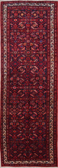 One of a Kind All-Over Hamedan Persian Hand-Knotted 4x11 Wool Runner Rug