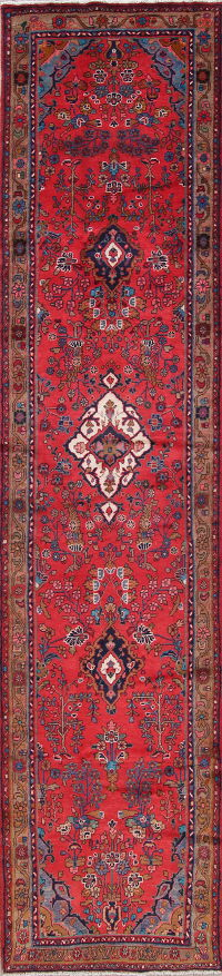 One of a Kind Floral Lilian Hamedan Persian Hand-Knotted 3x13 Wool Runner Rug