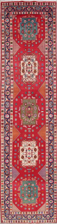 One of a Kind Geometric Tabriz Persian Hand-Knotted 4x14 Wool Runner Rug
