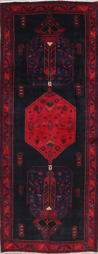 One of a Kind Geometric Bidjar Persian Hand-Knotted 5x13 Wool Runner Rug
