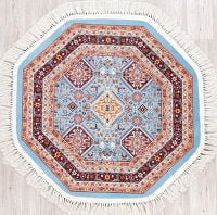 Light Blue Geometric Tabriz Turkish Oriental 3x3 Octagon Area Rug