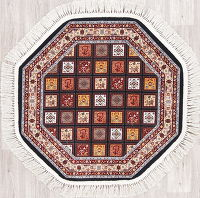 Black Geometric Tabriz Turkish Oriental 3x3 Octagon Area Rug