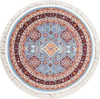 Light Blue Geometric Tabriz Turkish Oriental 3x3 Round Rug
