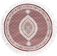 Red Geometric Tabriz Turkish Oriental 3x3 Round Rug