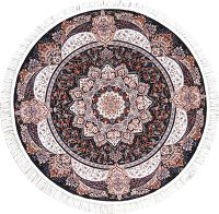 Black Floral Tabriz Turkish Oriental 5x5 Round Area Rug