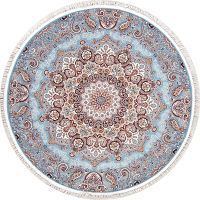 Light Blue Floral Tabriz Turkish Oriental 7x7 Round Area Rug